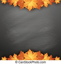 Autumn background with maple leaves on blackboard.