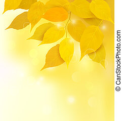 Autumn background with yellow leaves Back to school Vector illustration
