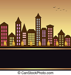 Autumn cityscape illustration with colorful building and autumn tree