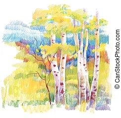 Autumn forest felt-tip pen illustration