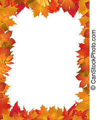 Illustration with frame of autumn leaves