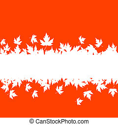 Autumn leaves background with plank border