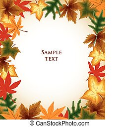 Autumn leaves frame background with copyspace. EPS 8