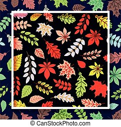 Autumn leaves seamless pattern with square frame on dark background.