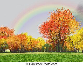 Autumn scenery with rainbow