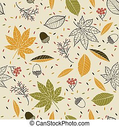 Autumn seamless pattern with leaves, cones, acorns