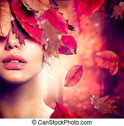 Autumn Woman Fashion Portrait. Fall