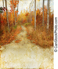 Trail in the autumn woods on Grunge Background. Copy-space for your text.