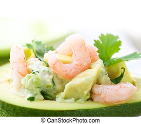 Avocado and Shrimps Salad. Close-up image