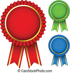 Blank award ribbon rosettes in three colors isolated on white.
