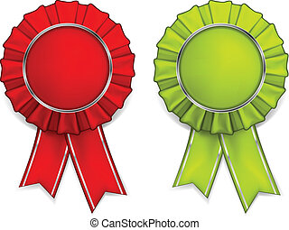 Award red and green rosettes with medals and ribbons, vector illustration