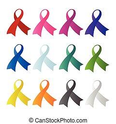Awareness ribbon set vector image