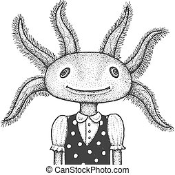 Funny Portrait of Axolotl - Classic Drawn Ink Illustration Isolated on White Background