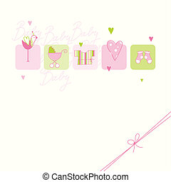 Baby girl arrival card with copy space