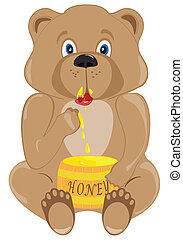 Baby Bear Eating Honey