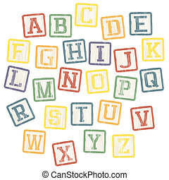Baby blocks alphabet collection. Vector, EPS8