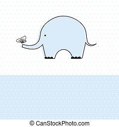 Baby boy shower card with cute elephant