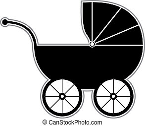Isolated Black and white baby carriage silhouette