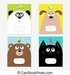 Baby cat, panda, dog, bear kitty head. Notebook cover Composition book template set. Butterfly, dragonfly, bee, mosquito insect. Cute cartoon character. Flat design. Colorful background.