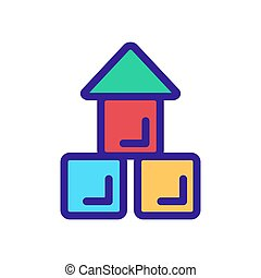 Baby cubes icon vector. Isolated contour symbol illustration