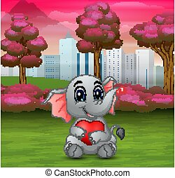 Baby elephat holding a red heart