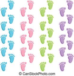 Vector border set of cute baby foot steps.