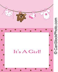 Cute pink baby girl announcement