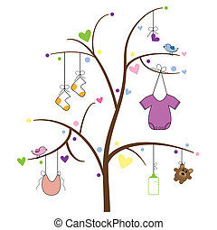 Cute baby items hanging on tree