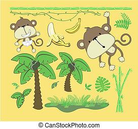 baby jungle cartoon design elements