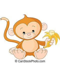 Illustration of baby Monkey eating banana