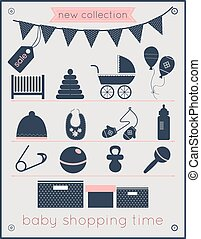 Baby Shopping Time Icons Set