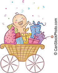 Illustration of a Baby Surrounded by Gifts