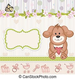 Baby shower invitation with puppy