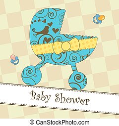 Card with a blue stroller