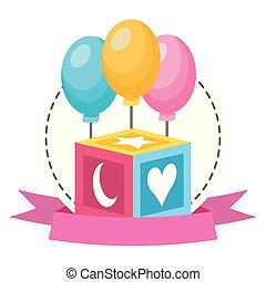 baby toys cube balloons ribbon