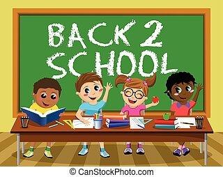 Back School blackboard Happy kids children classroom