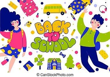 Back school lettering greeting card, flat vector illustration. Funny cartoon character.
