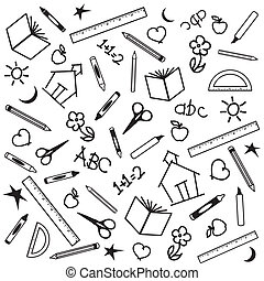 Blackboard Background for back to school, scrapbook, arts, crafts projects, with chalk drawings of apples, schoolhouses, books, rulers, pencils, pens, markers, protractors, crayons, scissors, ABCs, math, grade school doodles.