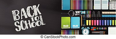 Back to school banner. Blackboard background with realistic 3d supplies for study. Vector illustration.