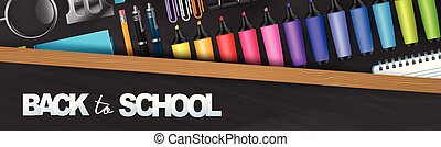 Back to school banner, blackboard with wooden frame and realistic 3d education supplies. Vector illustration.