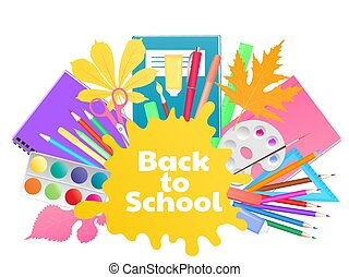 Back to school banner. Study supplies, stationery.