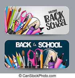 Back to school banner with a lot of supplies for education. vector illustration.