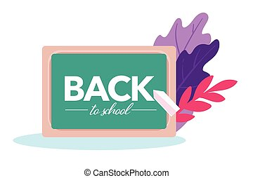Back to school banner with blackboard and chalk