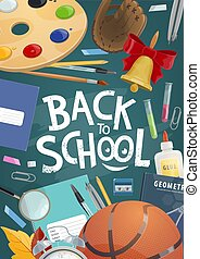 Back to school banner with education supplies