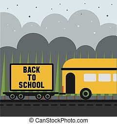 back to school billboard pattern background with school bus on the road