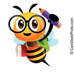 Back to school. Cartoon cute bee character carrying school bag, book and pencil and ready for school with smile. - vector