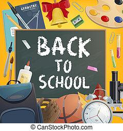Back to School chalk blackboard vector poster