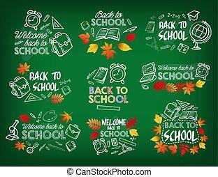Back to school chalk sketch badge on blackboard