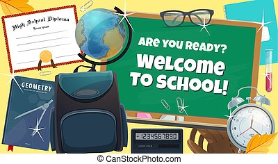 Back to school college books and diploma poster