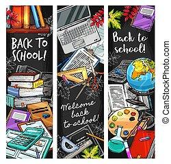 Back to School education stationery on blackboard